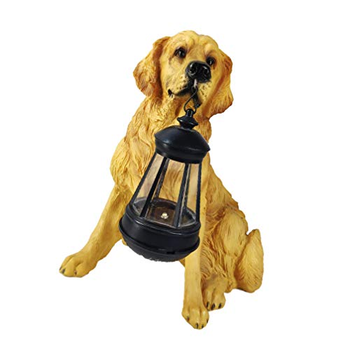 VOSAREA Solar Hanging Lantern Lights Outdoor Resin Dog Sculpture Garden Decorations for Patio Yard Porch Tree Decoration Gifts