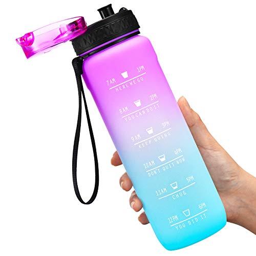 OMORC Sport Wasserflasche mit Infuser und Zeitmarkierung,32oz/900ml BPA-Frei Tritan Auslaufsicher Plastik Trinkflasche kohlensäure geeignet,Fitness Workout Getränkeflasche Für Schule,Outdoor,Fahrrad