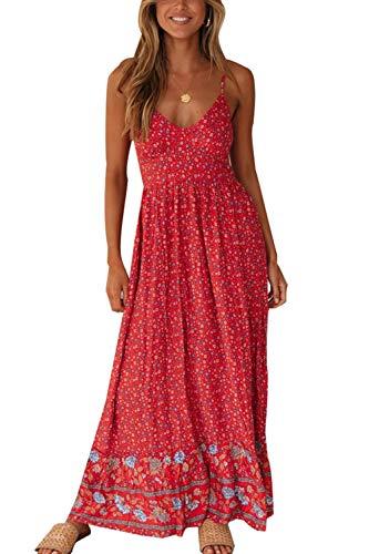 Vestido Maxi Floral para Mujer Vestidos De Playa Bohemios con Tirantes Finos De Verano Rojo L