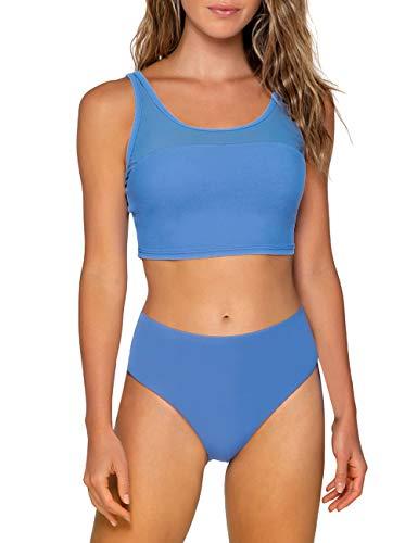 Vetinee Women's Blue Mesh Scoop Neck Two Pieces Bikini Set Padded Swimsuit Swimwear Bathing Suit Size Large