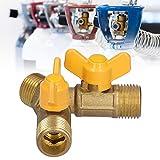 Gaeirt Válvula de Gas Combustible, válvula de Gas de 3 vías Fácil de Instalar y Usar 2 Canales 2 interruptores Material de latón para Aplicaciones de Cierre y Control para Dispositivos de Gas