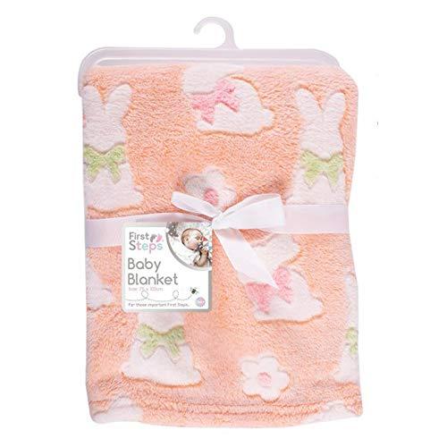 Soft Fleece Baby Blankets for Pram, Cot, Crib, Moses Basket | Peach Rabbit Baby Blanket