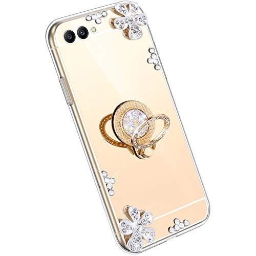 Ysimee Spiegel Hülle kompatibel mit Huawei Honor V10 [Ring Holder], Dünne Handyhülle Huawei View 10 Bling Glitzer Diamant Hülle mit 360 Grad Ständer Kratzfest Stoßdämpfend Schutzhülle, Gold