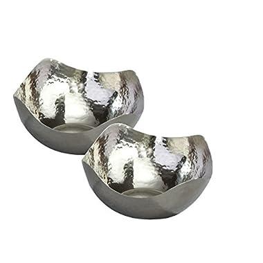 Elegance Hammered 6-Inch Stainless Steel Wave Serving Bowls, Set of 2, Silver