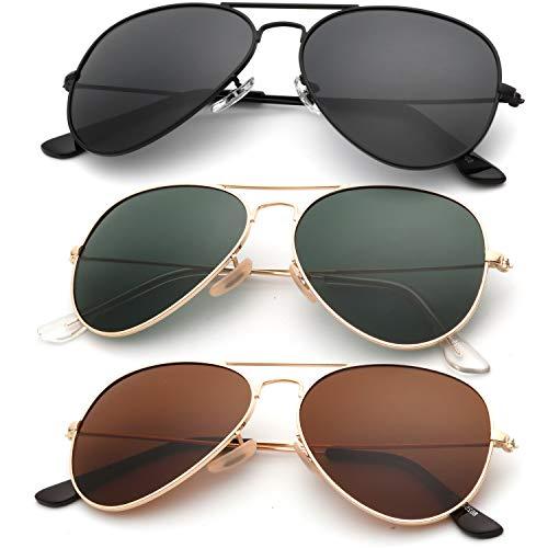 KALIYADI Classic Aviator Sunglasses for Men Women Driving Sun glasses Polarized Lens 100% UV Blocking (3 Pack) 58mm