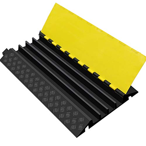 UFLIZOGH 4 Kanal Kabelbrücke Überfahrschutz Modularer Verdicken Gummi Rampe Protector Kabelabdeckung Fußboden Schutz für Draussen Garage mit 40mm Durchmesser Kabel (1 Stück, 90x50x6cm)
