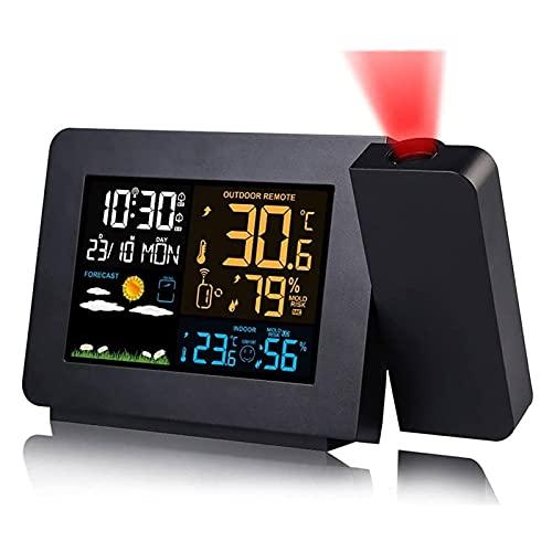 HKJZ SFLRW Reloj de Alarma de proyección para Habitaciones con estación meteorológica, termómetro inalámbrico para Exteriores, higrómetro de Calibre de Control de Humedad de Temperatura