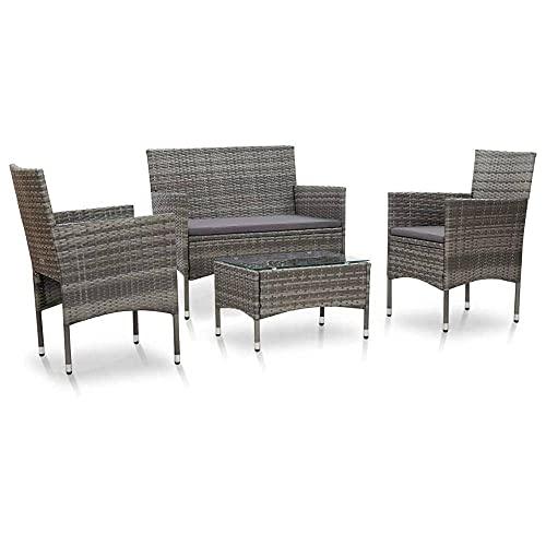 N\C Juego de salón de jardín al aire libre de 4 piezas con cojines en resina tejida 2 bancos de asiento 2 sillones 1 mesa de café muebles de jardín conjunto para jardín terraza gris