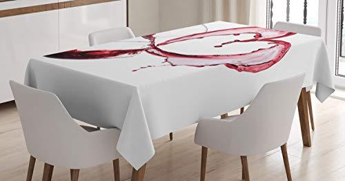 ABAKUHAUS Vino Mantele, En Forma de corazón derramar el Vino, Resistente al Agua Apto Uso Exterior e Interior No Destiñen, 140 x 200 cm, Borgoña Rosa Blanco