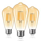LOHAS 6W E27 Vintage Filamento LED Bombillas, Equivalente a 60W, ST64 Edison LED Bombilla E27 Luz Calida 2700K, 600LM, Vidrio Ámbar LED Bombilla de Decorativa, No Regulables, Pack de 3