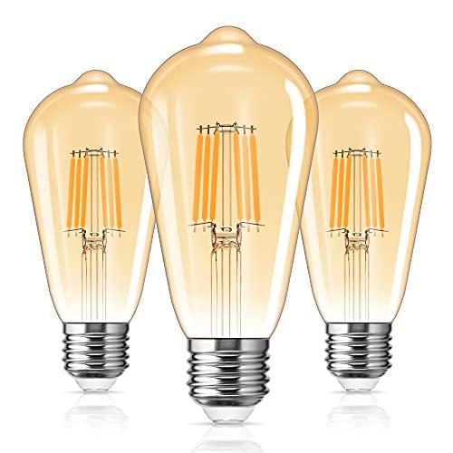LOHAS 6W Vintage LED E27 Lampadine, Equivalente 60W, ST64 Vetro Ambrato Filamento Lampadine Bianca Calda 2700K, 600LM, Edison Lampadina Ideale per La Decorazione, Non Dimmerabili, 3 Pezzi