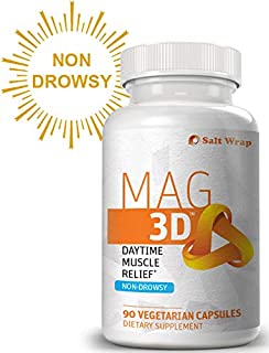 Mag 3D Daytime Muscle Relaxation (Non-Drowsy) with Magnesium Malate for Natural Muscle Cramp and Spasm Relief, 90 Capsules
