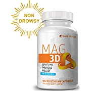 Mag 3D - Daytime Muscle Relaxation Supplement (Non-Drowsy) with Magnesium Malate for Natural Muscle Cramp and Spasm Relief, 90 Capsules