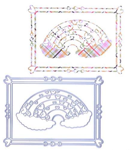 Regenboog rechthoekig frame DIY mes mal koolstofstaal mes mal metaal snijden die sjabloon 13.2X9.6Cm