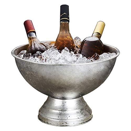 YWSZJ Cubo de Hielo de Acero Inoxidable con Pinzas, Enfriador de Vino para Tina de Bebida, 13.5 L, Plata
