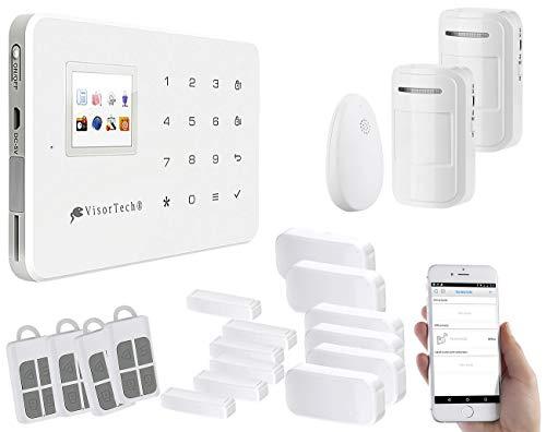 VisorTech Alarmanlage mit Kamera: Funk-Alarmanlage mit WLAN- & GSM-Anbindung, 10-teiliges Starter-Set (WLAN Alarmanlage mit Kamera)