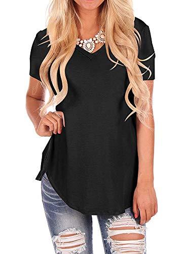 WFTBDREAM Women V Neck Curved Hem T Shirt Solid Color Short Sleeve Black L