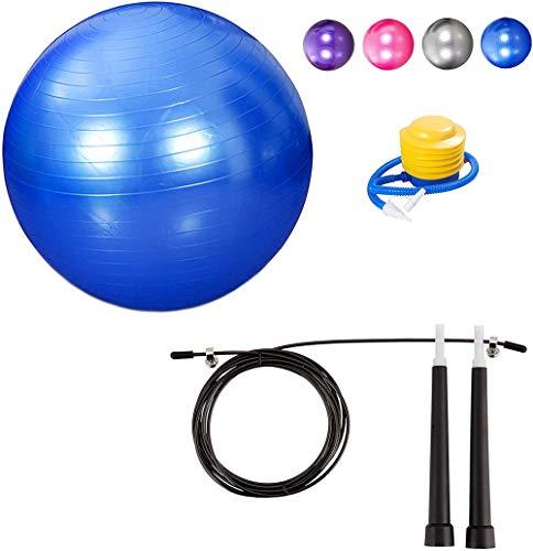 Corde à sauter et balle de yoga 55 CM avec pompe anti-éclatement pour les appareils de fitness Poids gratuits pour hommes et femmes Utilisation en extérieur et en intérieur