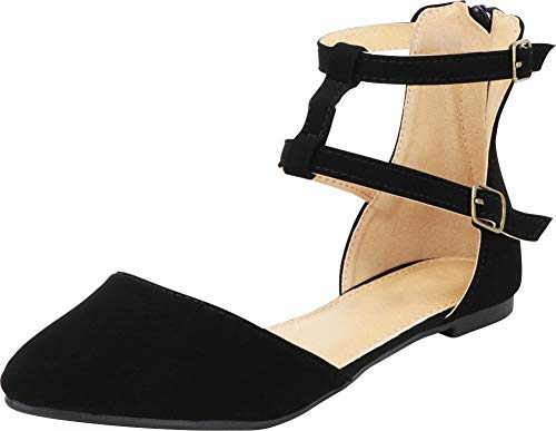 Cambridge Select Women's Pointed Toe D'Orsay Gladiator Strappy Caged Ankle Ballet Flat (10 B(M) US, Black NBPU)