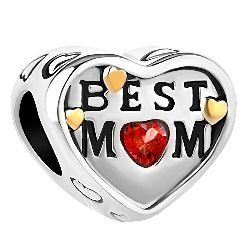 Lifequeen Jewellery Best Mom Charm Heart Love Charms Beads for Bracelets