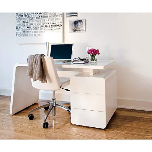 Jahnke CSL 440 WGL/MATT-SW T.1-2 Schreibtisch, E1-Holzwerkstoffplatten, beschichtet und lackiert, ESG-Sicherheitsglas, Weißes Glas, 132 x 60 x 75 cm