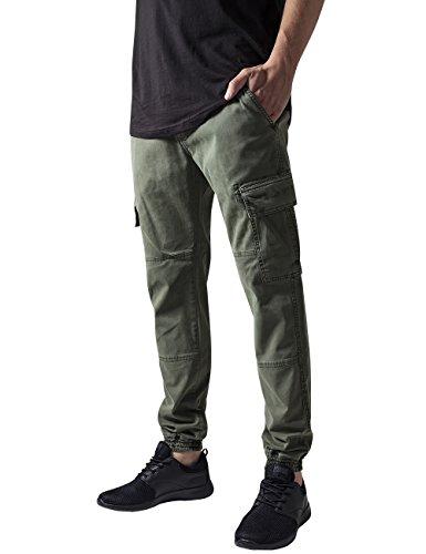 Urban Classics TB1435 Herren und Jungen Cargohose Washed Cargo Twill Jogging Pants, Rangerhose mit aufgesetzten Seitentaschen, olive, Größe W34