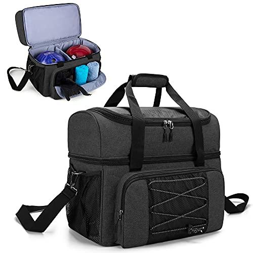 DSLEAF Bowlingtasche für 2 Ball mit Holz Ballhalter und gepolsterter Trennwand für Double Ball und ein Paar Bowlingschuhe bis Mens 57 und Extra Essentials, nur Tasche, Schwarz