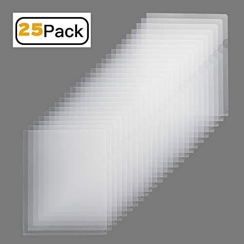 Sooez Clear Document Folder Project Pockets, 25 Pack Copy Safe Letter Size US Paper Poly Jacket Sleeves Folders Transparent Plastic Document Folders, Clear