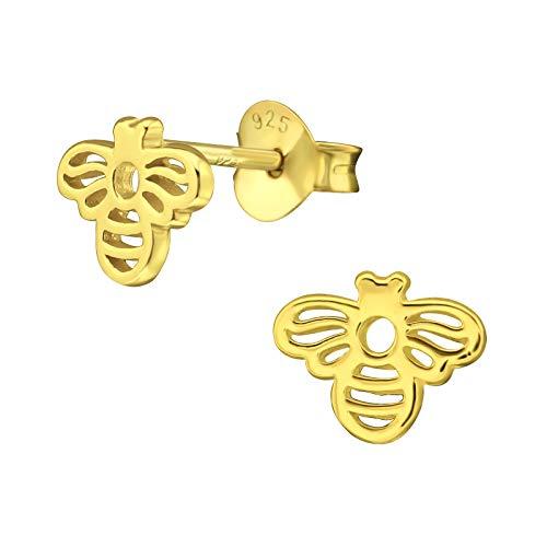 Pendientes de plata de ley 925 chapados en oro con diseño de abeja monkimau