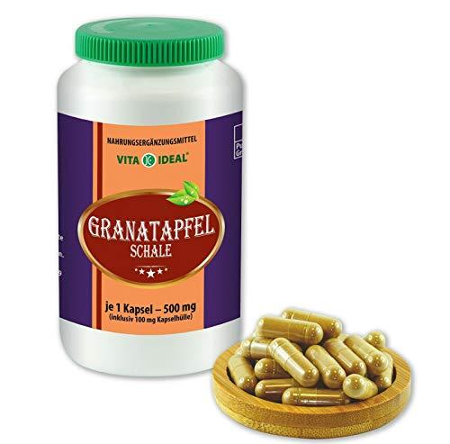 VITAIDEAL ® Granatapfel-Schale 360 Kapseln je 500mg, aus rein natürlichen Kräutern, ohne Zusatzstoffe von NEZ-Diskounter
