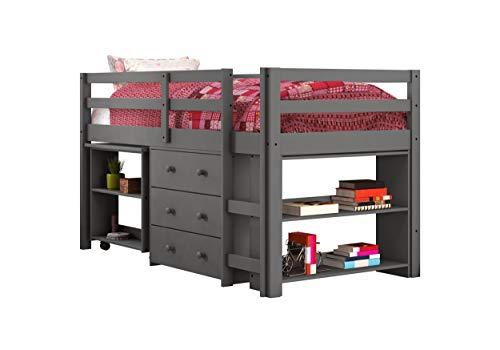 DONCO kids Low Loft Bed with Desk, Twin, Dark Grey