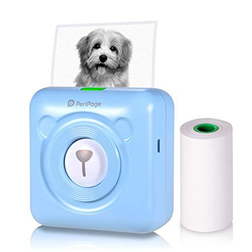 Aibecy PeriPage Mini Fotodrucker Wireless BT Handydrucker Picture Label Memo Receipt Drucker für Smartphone Android iOS Windows(Blau)