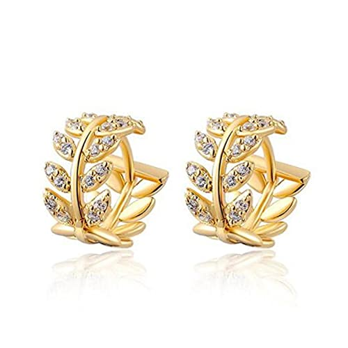 Aiasiry Willow Leaf Earrings Small Hoop Earrings Crystal Leaves Round Studs For Women Girls (Golden)