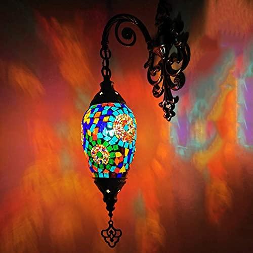 (6 colores) lámpara de pared turca de cristal hecha a mano, estilo Tiffany, marroquí, para comedor, cafetería, bar, pasillo, 110 – 240 V, C