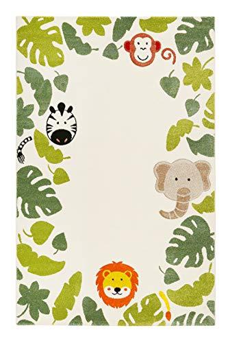 Esprit Home, Moderner Kinderteppich für Kinderzimmer, E-Safari (80 x 150 cm, beige grün)