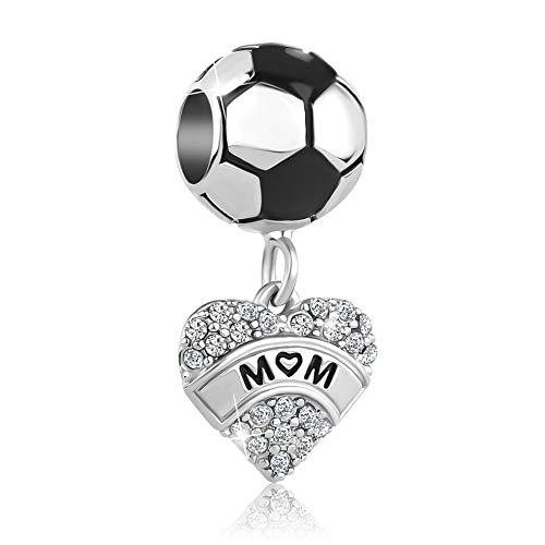 Uniqueen - Charm per braccialetti con ciondoli a forma di scritta 'I Love Sports Football Mum' e Rame, colore: Rosso, cod. UQ_DPC_MY947