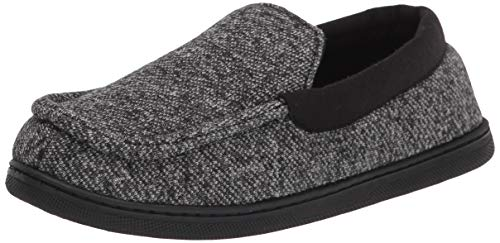 Hanes boys Moccasin House Shoe With Indoor Outdoor Memory Foam Sole Fresh Iq Odor Protection Slipper, Black Knit, Medium Little Kid US