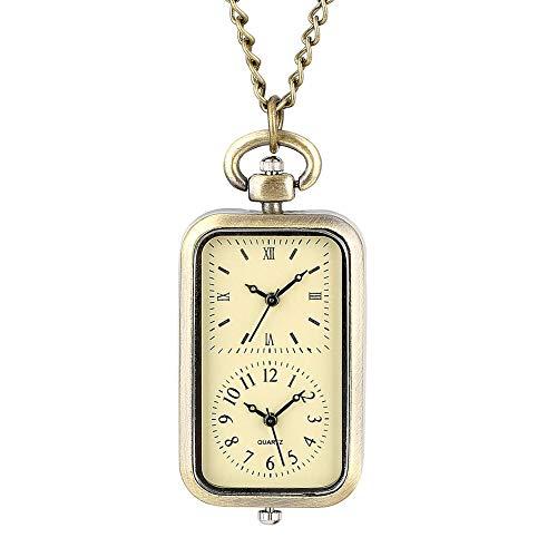 Bronze Dual Double Time Zone Rectangle Pocket Watch Quartz Movement Car T-Shirt Key Lock Cross Women Ladies Dress Necklace Gifts DoubleTime
