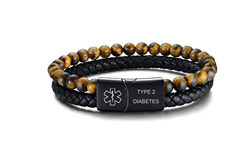 VNOX Type 2 Diabetes Medical Alert ID Two-Strand Braided Leather Cuff Wristband Rope Bracelet with Magnetic Clasp for Men Boys,Brown