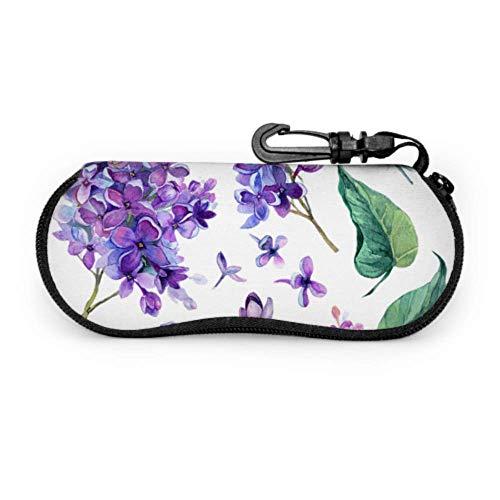 Estuche para gafas finas con flor lila violeta púrpura Estuche para gafas personalizado Estuche ligero con cremallera portátil Estuche blando para gafas de seguridad