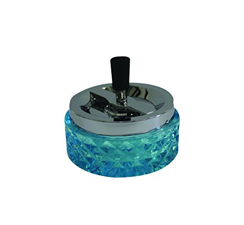 Hank Star 4.75' Round Push Down Glass Ashtray with Spinning Tray ~ Choose Your Own Color (Aqua Blue)
