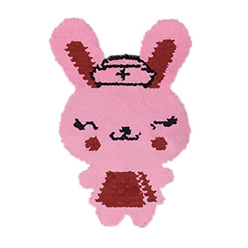 Windy5 Reversibile Doppi Lati Abbigliamento Incollare Coniglio Rosa Paillettes Bambini Patch Animal Costume