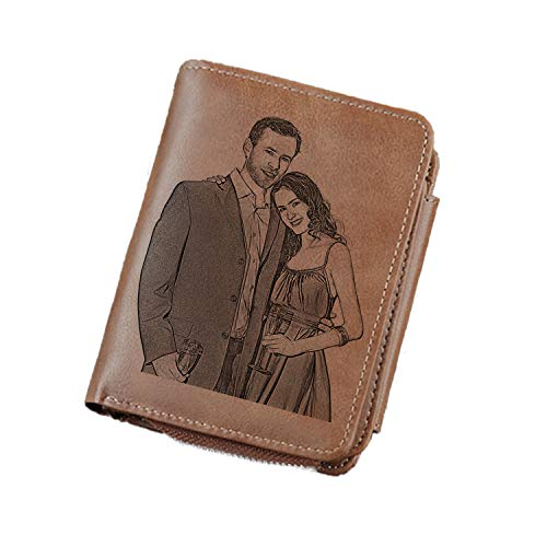 Personalized Photo Wallets for Men,Custom Engraved Wallet,Customized Gifts for Father,Husband,Son