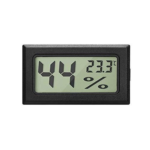 Urijk LCD Digital Hygrometer Thermometer, Hygrometer Innen Mini Digital Temperaturmesser für Gewächshaus/Autos/Zuhause/Büro/Keller Schrank (Schwarz)