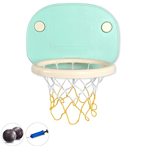 SNDMOR Toy Basketball for Toddlers-Kids Toy Basketball Hoop Set-Toddler Mini Basketball Hoop Indoor-Basketball Hoop Wall Mounted Suction Cup(Blue for Age 3-12)