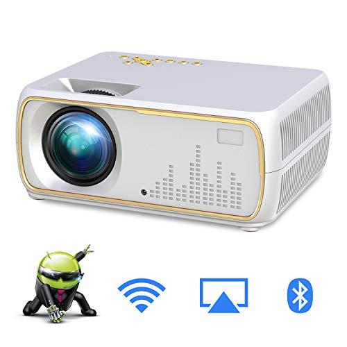 MBEN Proyector WiFi LED portátil, proyector de Cine en casa con Android 8.1, 2200 lúmenes, Apple, Android inalámbrico con Pantalla, VGA, HD, USB, LAN, AV, RCA, Interfaz Audio,White