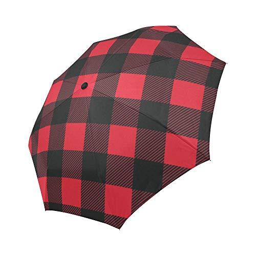 Automatic Foldable Umbrella Red Buffalo Check Lumberjack Plaid Windproof Automatic Open And Close Foldable Umbrella Travel Compact Unbreakable Rain And Sun Umbrella