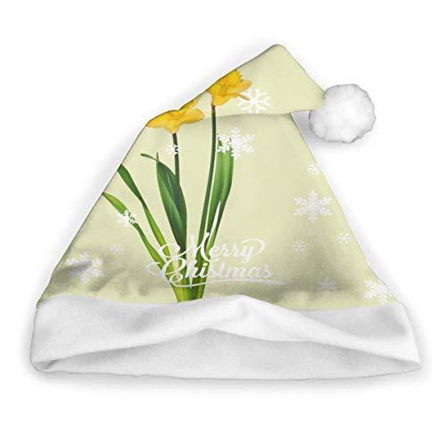 ghkfgkfgk Gelbe Frühlings-Narzissen - Narzissen-Schablonen-Weihnachtshut, Sankt-Hut, Weihnachtsfeiertags-Hut für Erwachsene