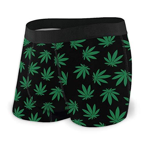 GLGFashion Men's Breathable Underwear Black Weed Pattern-01 Comfortable Boxer Briefs Herren-Boxershorts