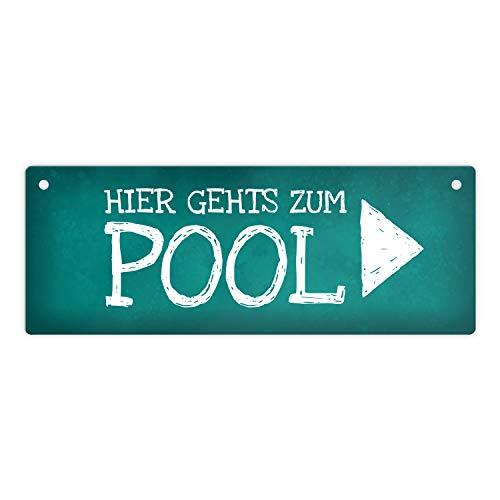 Rechts gehts zum Pool Metallschild Swimmingpool Schwimmen tauchen Wasser